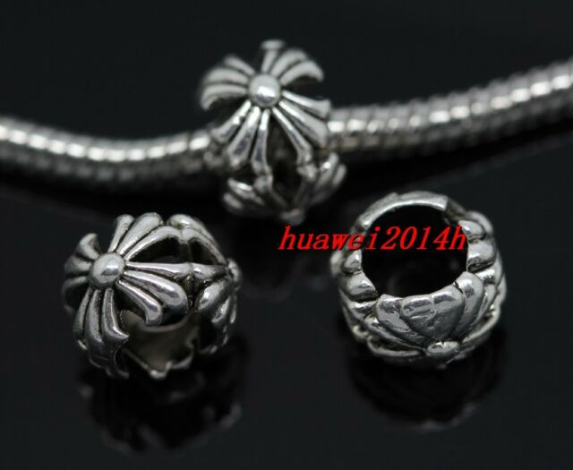 40/200pcs Tibetan Silver big hole flowers beads Fit Charm Bracelet (Lead Free)