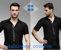 Men's Short Sleeve Ballroom Latin Tango Salsa Competition Dance Tight Shirt Tops