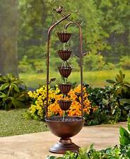 5 Tier Bronze Metal Rain Chain Water Fountain Porch Patio Yard Garden Home Decor