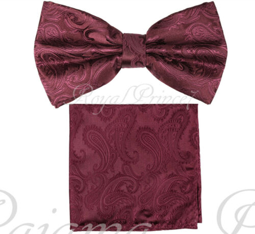 New Men Burgundy BUTTERFLY Bow tie And Pocket Square Handkerchief Set Wedding