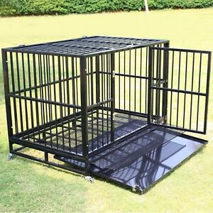 48-Black-Heavy-Duty-Dog-Crate-Cage-Pet-Kennel-Playpen-Exercise-w-Metal-Tray-US