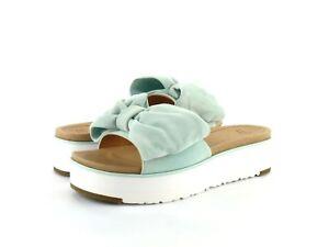 73d97ddbb0b Details about UGG Women's Joan Slide Aqua Suede Leather Bow Strap Flat  Platform Sandal Size 7