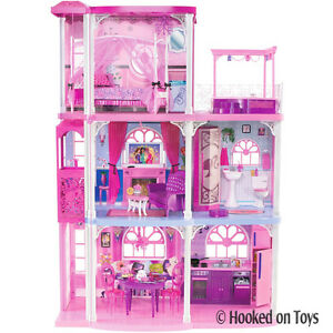 Barbie-3-Story-Dream-Town-House-55-Pieces-w-Lights-Furniture-amp-Real-Sounds