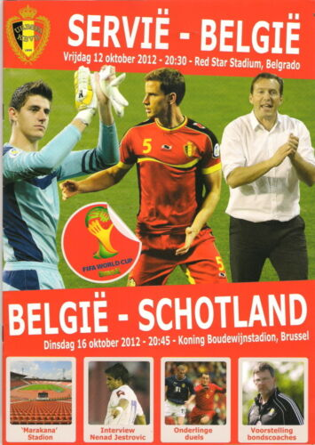 Belgium v Scotland. RARE VIP match programme & used ticket. 161012. In Dutch.