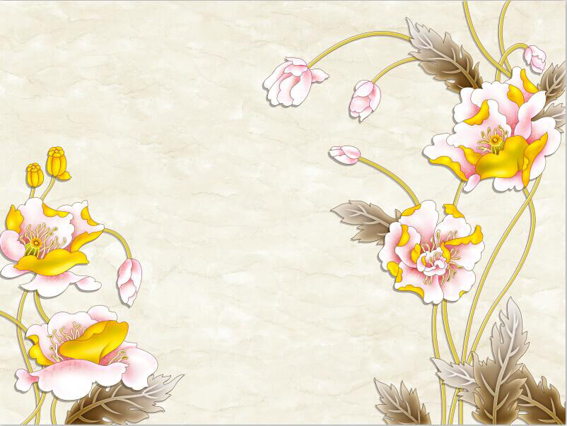 3D Pretty Farbeed Flowers 03 Paper Wall Print Wall Decal Wall Deco Indoor Murals