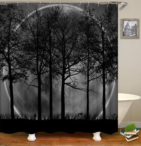 White/&Black Forest Decor Shower Curtain Liner Waterproof Bathroom Fabric 12Hook