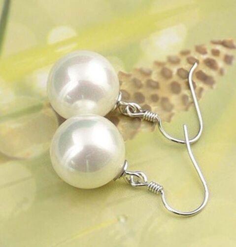 10 Mm Blanc South Sea Shell Pearl Round Beads Dangle Silver Hook Earrings PE159