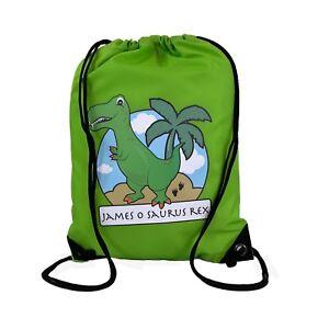 Personalised-Green-T-Rex-Drawstring-Green-PE-Bag-Kids-Swimming-Gym-Kit-School