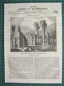 1834 Holzschnitt Aufdruck ~ St.JOSEPH'S Kapelle & Glastonbury Abbey