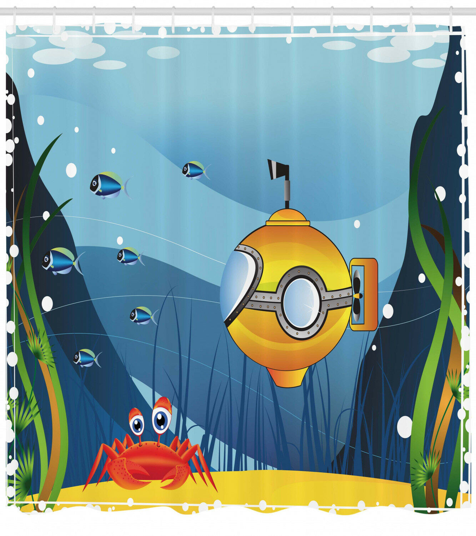 Gelb Submarine Shower Curtain Fabric Bathroom Decor Set With Hooks 4 Grosses 53833d