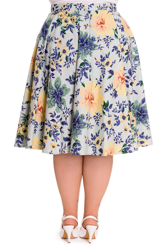 Hell Bunny Victorian Garden Flower Print Hope Full Circle Skirt