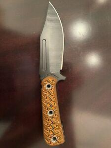 "RMJ Tactical UCAP Fixed Blade Knife Black 4.25"" Nitro-V Blade Orange G10"
