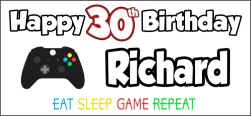 Xbox Controller 30th Birthday Banner x 2 Party Decorations Mens Ladies ANY NAME