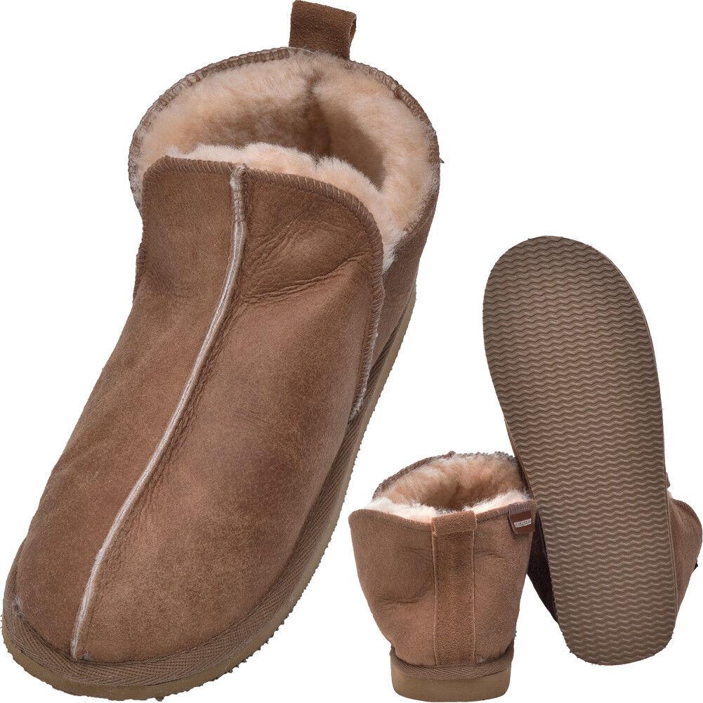 Señoras para hombre Super Suave botas De Piel De Oveja Genuino Real suela dura Coñac tan Zapatillas