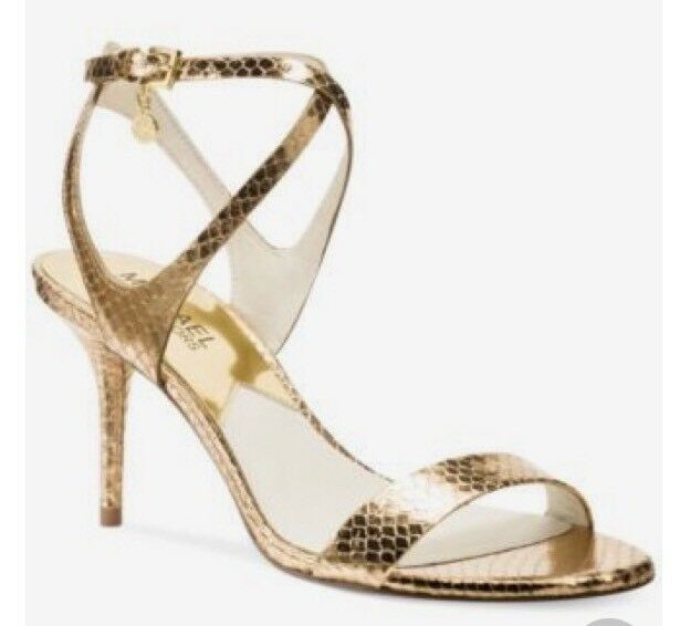 ba1b21e4fc7 Women Michael Kors Kaylee Mid Heel Sandal Metallic Leather Pale Gold for sale  online