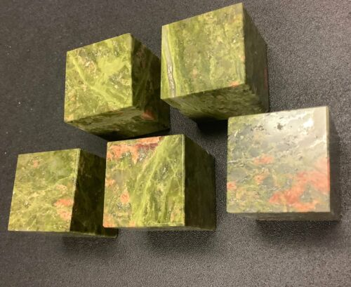 Wholesale Bulk Lot 5 Pack Of Unakite Cubes Carved Crystal Art Decor