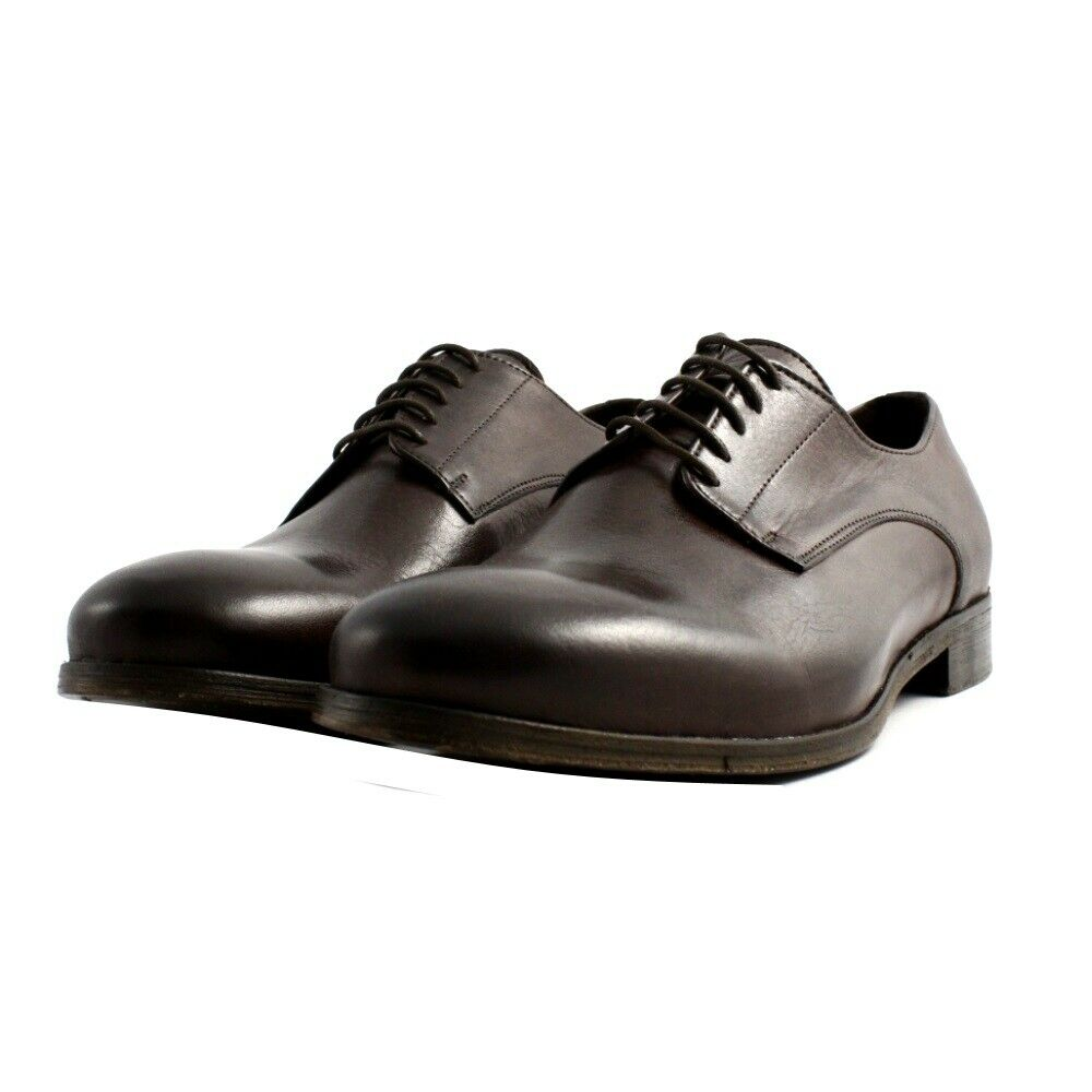 Shoes Lace-Up Elegant Casual Veni Men's Leather Brown Log Made IN Italy