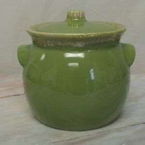 Hull-Pottery-Avocado-Green-Drip-Bean-Pot-or-Cookie-Jar-Oven-Proof-1960s