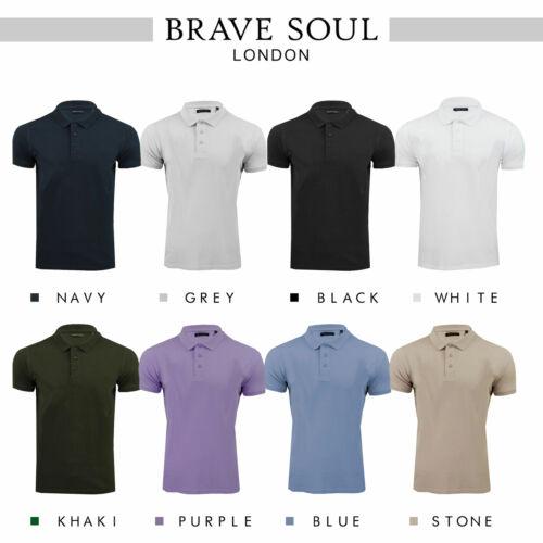 Brave Soul Plain Polo estampé À Rayures Doux Pique Helix Top
