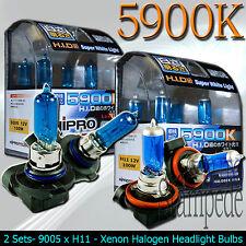 HIPRO POWER 9005 & H11 SUPER WHITE XENON HALOGEN HEADLIGHT BULBS - LOW&HIGH BEAM
