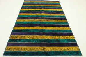 Patchwork-Orient-Tapis-Vintage-250x160-turquoise-mauve-Used-Look-handmade-883
