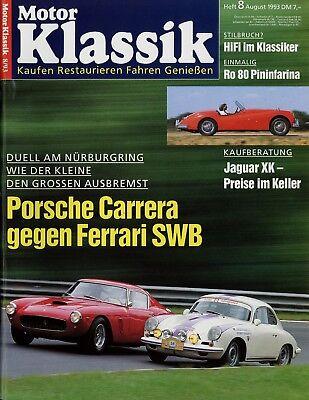 Motor Klassik 8/93 1993 Ferrari 250 Gt Swb Porsche 356 Carrera 2 Grade Nsu Ro 80 Hohe Sicherheit Bücher