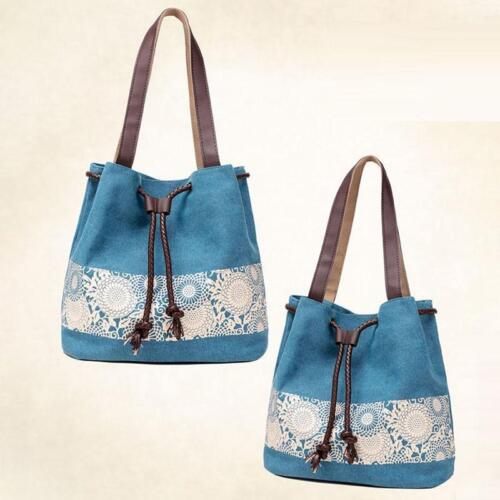 Womens Canvas Tote Bags Drawstring Top Handle Handbags Purse G