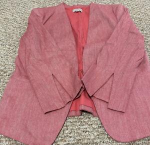 Ann-Taylor-Loft-Womens-Peach-Linen-Blend-Blazer-Jacket-Size-10