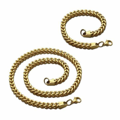 Set Of Necklace And Bracelet Link Chain Curb Chain Silver Golden Black Men Steel