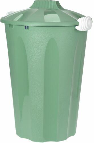 40 LITER AQUA GREEN LOCKABLE LID PLASTIC BIN ROUND RUBBISH WASTE GARDEN KITCHEN
