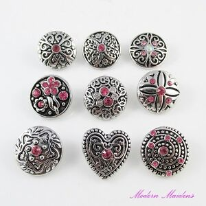 Pink-Themed-Rhinestone-Noosa-Style-Snap-on-Chunk-Button-20mm-Select-Design