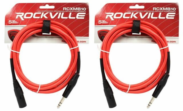 Red and Blue 2 Rockville 6/' Male REAN XLR to 1//4/'/' TRS Balanced Cable