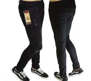 Da-Uomo-Elastico-Strappato-Jeans-attillati-pantaloni-distrutto-Slim-Fit-Pantaloni-Denim-Grezzo