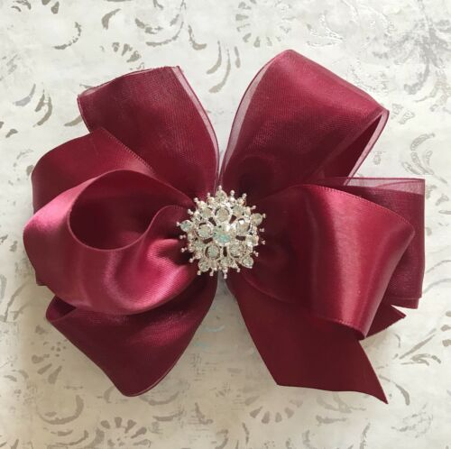 BURGUNDY satin /& organza hair bow rhinestone BIG 5 inch girl Christmas pageant