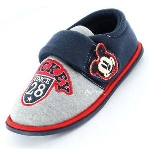 Boys Mickey Mouse Retro Insignia toque fijar Zapatillas Tallas de Zapatos 4-11