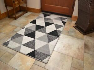 Details About Machine Washable Rugs Small Large Black Grey Door Hall Runner Kitchen Mats