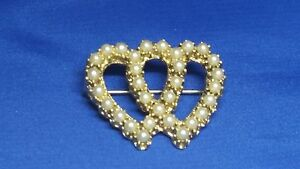 Intertwined-Double-Heart-Pin-Faux-Pearls-Vintage
