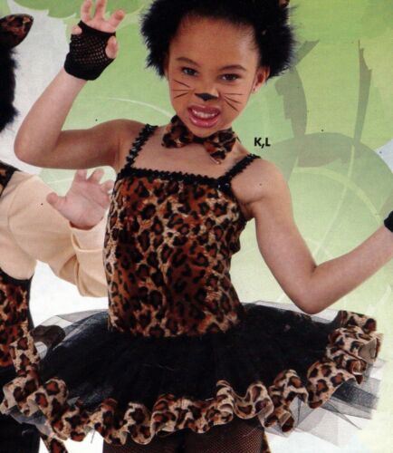 NEW Ballet Tap Dance Costume Fuzzy Leopard Print w// Bowtie Attached Tutu Girls