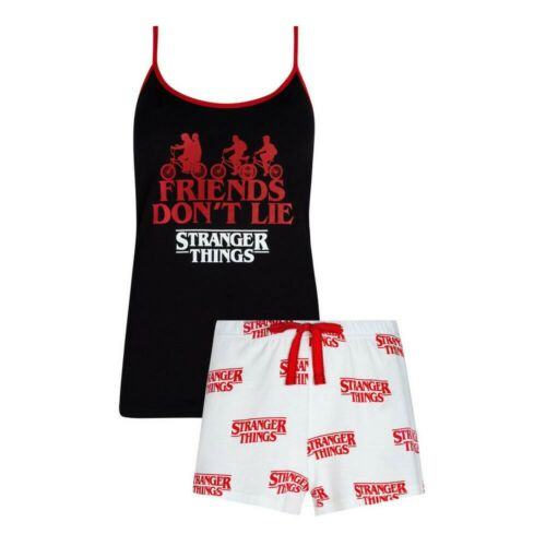 Details about  /Official Netflix Stranger Things Ladies Pyjama Set Cami Short Nightwear Primark.