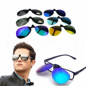 Polarized-Sunglasses-Clip-on-Flip-Up-Oval-Full-Rim-Frame-Driving-Glasses