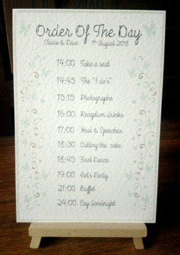 19 colours available* **A5 Personalised Wedding Order of the Day Sign