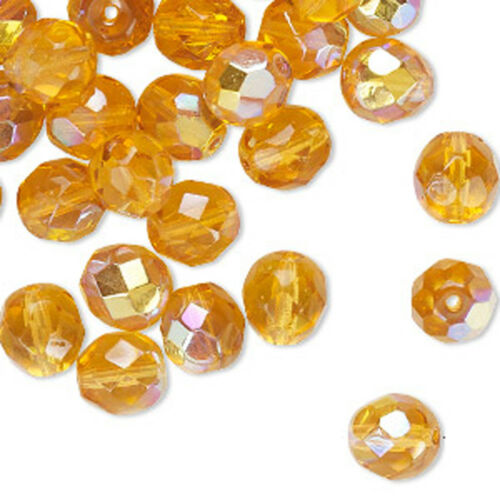25 Golden Topaz AB Czech Glass Faceted Fire Polished Beads 8MM