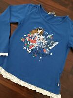 ღஐTraumschönes Kanz Shirt 116 fast neu blau mega Druck Nieten TOP Qualität ஐღ