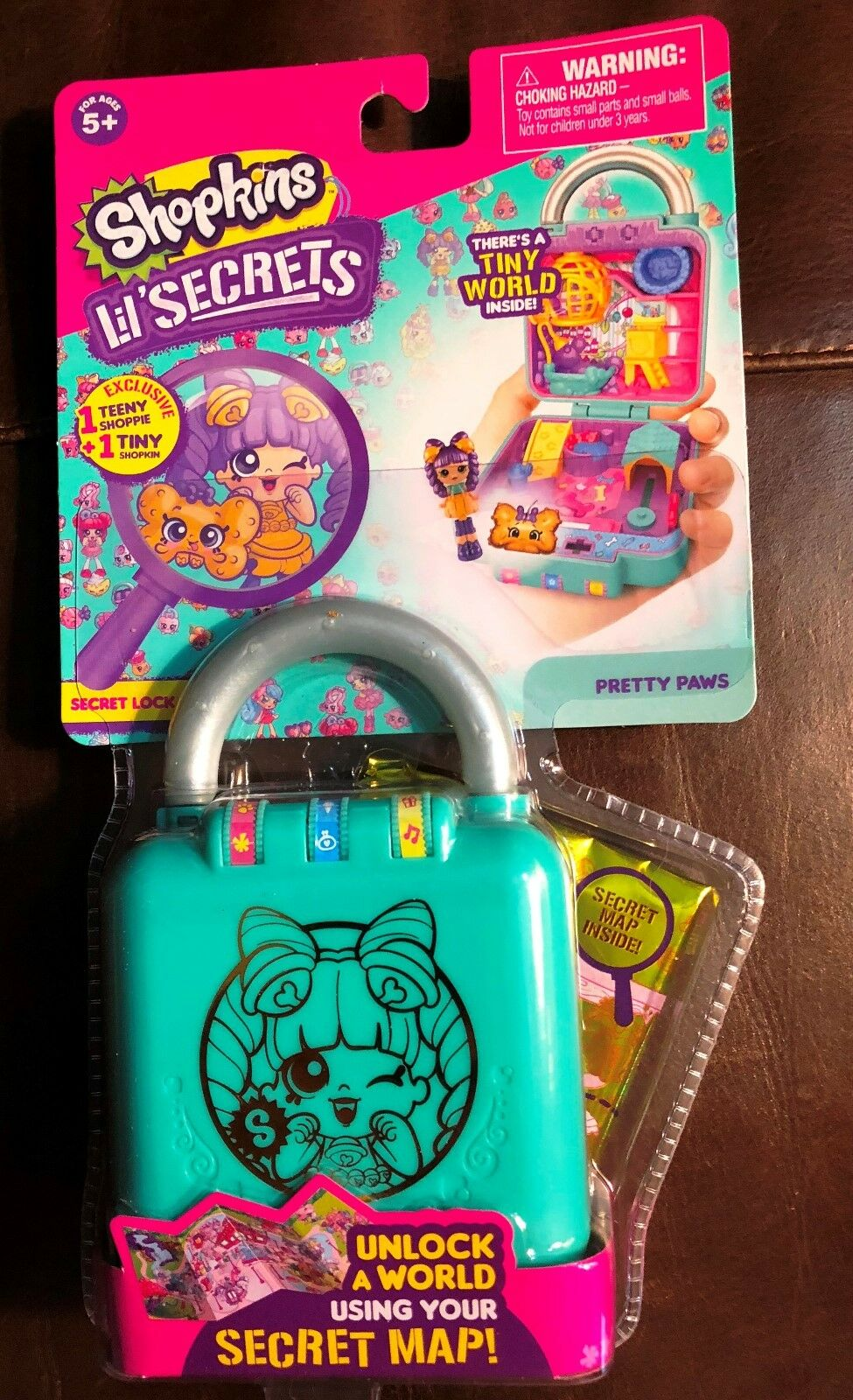 New Shopkins Lil' Secrets Lock Pretty Paws Playset Tiny World Light Square Green