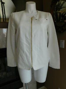 Calvin-Klein-Size-XL-White-Alabaster-Soft-Faux-Leather-Women-039-s-Jacket-Zip-Up-NWT