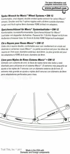 Park Tool SW-12 Bicycle Spoke Nipple Wrench for Mavic 6 /& 7 Spline M7 Wheels