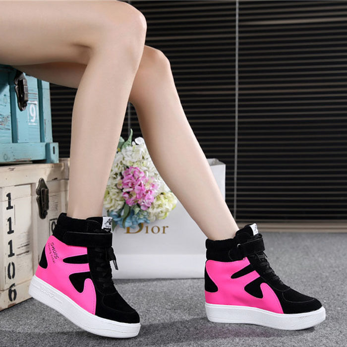 FASHION Women's Sneakers Athletic Lace Up Hidden Wedge High Top Casual shoes New