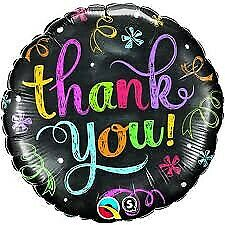 "ROUND THANK YOU CHALKBOARD FOIL BALLOON 18"" THANK YOU FOIL BALLOON QUALATEX"