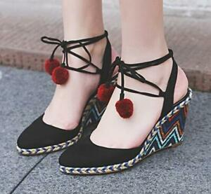 Women-039-s-Platform-Shoes-Espadrille-Wedge-Heel-Sandals-Lace-Up-Ankle-Strap-Chic