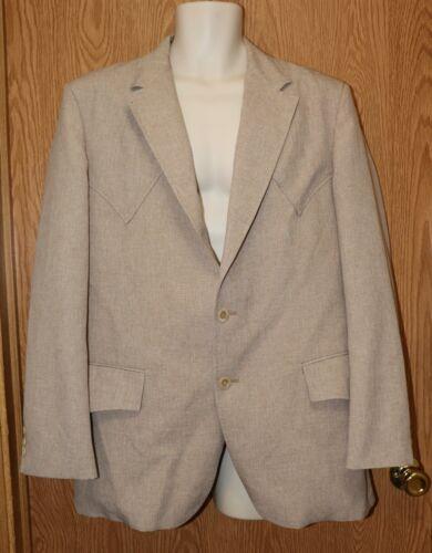 Mens Beige Heathered H Bar C Weste Suit Jacket Bla